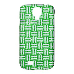 Woven1 White Marble & Green Glitter Samsung Galaxy S4 Classic Hardshell Case (pc+silicone)