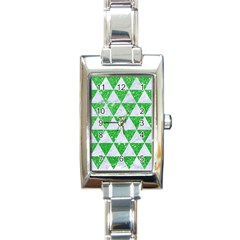 Triangle3 White Marble & Green Glitter Rectangle Italian Charm Watch