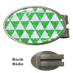 Triangle3 White Marble & Green Glitter Money Clips (oval)