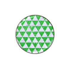 Triangle3 White Marble & Green Glitter Hat Clip Ball Marker (4 Pack)
