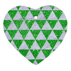Triangle3 White Marble & Green Glitter Heart Ornament (two Sides)