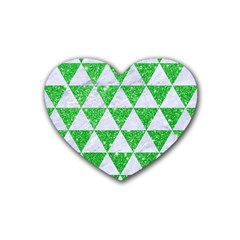 Triangle3 White Marble & Green Glitter Rubber Coaster (heart)