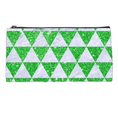 Triangle3 White Marble & Green Glitter Pencil Cases by trendistuff