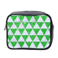 Triangle3 White Marble & Green Glitter Mini Toiletries Bag 2 Side