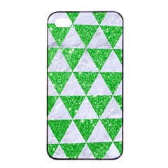 Triangle3 White Marble & Green Glitter Apple Iphone 4/4s Seamless Case (black)