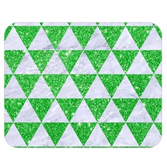 Triangle3 White Marble & Green Glitter Double Sided Flano Blanket (medium)