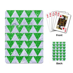 Triangle2 White Marble & Green Glitter Playing Card
