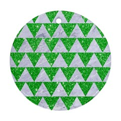 Triangle2 White Marble & Green Glitter Round Ornament (two Sides)