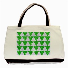 Triangle2 White Marble & Green Glitter Basic Tote Bag (two Sides)