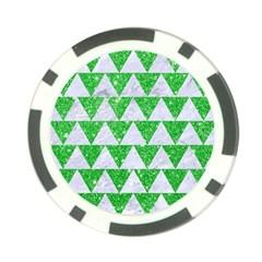 Triangle2 White Marble & Green Glitter Poker Chip Card Guard