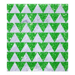 Triangle2 White Marble & Green Glitter Shower Curtain 66  X 72  (large)