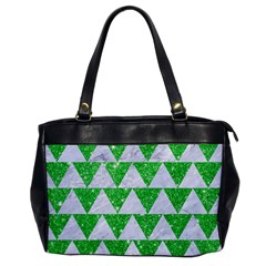 Triangle2 White Marble & Green Glitter Office Handbags