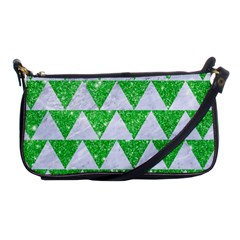 Triangle2 White Marble & Green Glitter Shoulder Clutch Bags