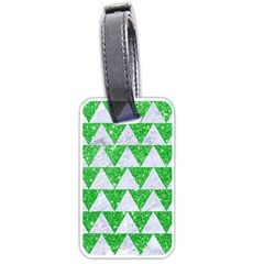 Triangle2 White Marble & Green Glitter Luggage Tags (one Side)