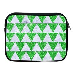 Triangle2 White Marble & Green Glitter Apple Ipad 2/3/4 Zipper Cases