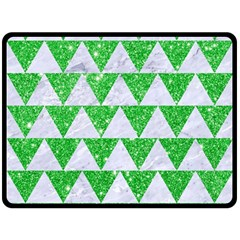 Triangle2 White Marble & Green Glitter Double Sided Fleece Blanket (large)