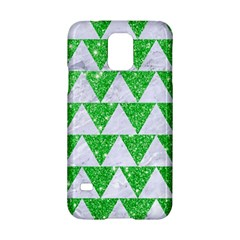 Triangle2 White Marble & Green Glitter Samsung Galaxy S5 Hardshell Case