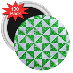 Triangle1 White Marble & Green Glitter 3  Magnets (100 Pack)