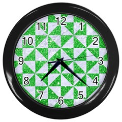 Triangle1 White Marble & Green Glitter Wall Clock (black)