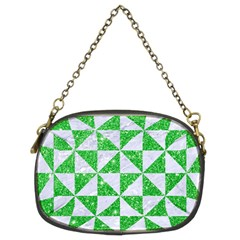 Triangle1 White Marble & Green Glitter Chain Purses (two Sides)