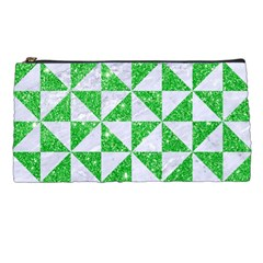Triangle1 White Marble & Green Glitter Pencil Cases by trendistuff