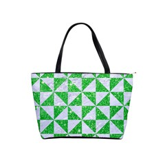 Triangle1 White Marble & Green Glitter Shoulder Handbags