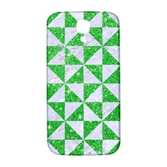 Triangle1 White Marble & Green Glitter Samsung Galaxy S4 I9500/i9505  Hardshell Back Case