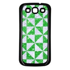 Triangle1 White Marble & Green Glitter Samsung Galaxy S3 Back Case (black)