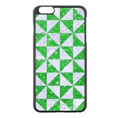 Triangle1 White Marble & Green Glitter Apple Iphone 6 Plus/6s Plus Black Enamel Case