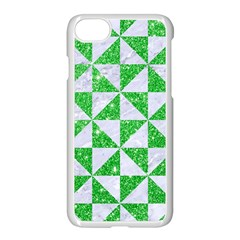 Triangle1 White Marble & Green Glitter Apple Iphone 7 Seamless Case (white)
