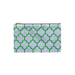 Tile1 (r) White Marble & Green Glitter Cosmetic Bag (small)