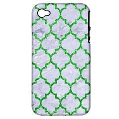 Tile1 (r) White Marble & Green Glitter Apple Iphone 4/4s Hardshell Case (pc+silicone)