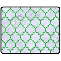 Tile1 (r) White Marble & Green Glitter Double Sided Fleece Blanket (medium)