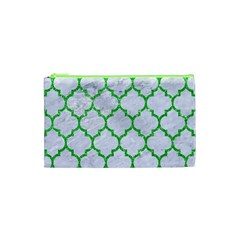 Tile1 (r) White Marble & Green Glitter Cosmetic Bag (xs)