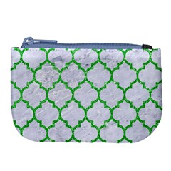 Tile1 (r) White Marble & Green Glitter Large Coin Purse