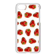 Red Peppers Pattern Apple Iphone 8 Seamless Case (white) by SuperPatterns