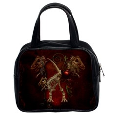Awesome T Rex Skeleton, Vintage Background Classic Handbags (2 Sides) by FantasyWorld7