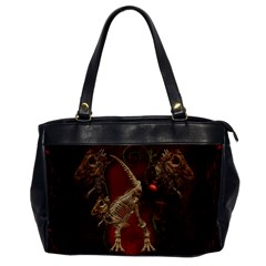 Awesome T Rex Skeleton, Vintage Background Office Handbags