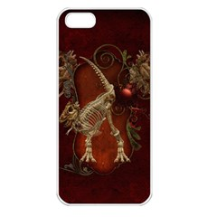 Awesome T Rex Skeleton, Vintage Background Apple Iphone 5 Seamless Case (white) by FantasyWorld7