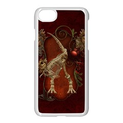 Awesome T Rex Skeleton, Vintage Background Apple Iphone 8 Seamless Case (white) by FantasyWorld7