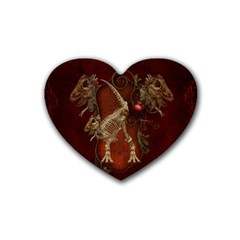 Awesome T Rex Skeleton, Vintage Background Rubber Coaster (heart)