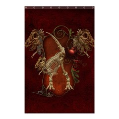 Awesome T Rex Skeleton, Vintage Background Shower Curtain 48  X 72  (small)  by FantasyWorld7