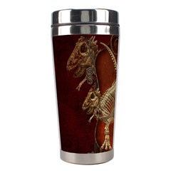 Awesome T Rex Skeleton, Vintage Background Stainless Steel Travel Tumblers