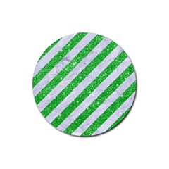 Stripes3 White Marble & Green Glitter (r) Rubber Coaster (round)