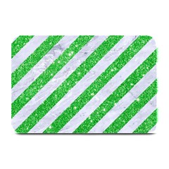Stripes3 White Marble & Green Glitter (r) Plate Mats