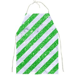 Stripes3 White Marble & Green Glitter (r) Full Print Aprons