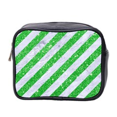 Stripes3 White Marble & Green Glitter (r) Mini Toiletries Bag 2 Side