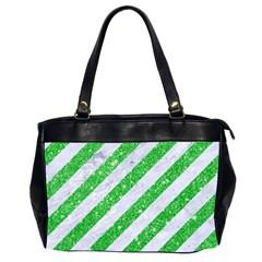 Stripes3 White Marble & Green Glitter (r) Office Handbags (2 Sides)