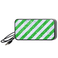 Stripes3 White Marble & Green Glitter (r) Portable Speaker