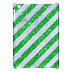 Stripes3 White Marble & Green Glitter (r) Apple Ipad Mini Hardshell Case